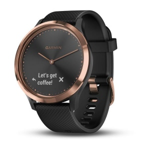 Garmin Vivomove HR Sport (Rose Gold with Black Silicone Band)