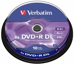 BLANK  DVD+R Verbatim DL 8X 8.5GB 10PK SPINDLE MATT SILVER