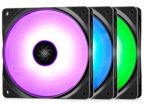 Cooler DEEPCOOL 120x120x25 mm, RGB LED, PWM, Hydro Bearing, control dual iluminare A-RGB, 3 buc. in pachet & controller