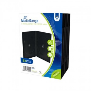 MediaRange DVD case for 2 discs, black, 14mm, 5 pack