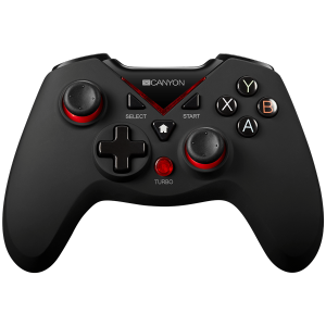 CANYON 2.4G Wireless Controller 4in1 PC/PS3/Android/XboxOne, High precision 3D, 600mAh Li-Poly battery, rubberized surface and vibration feedback
