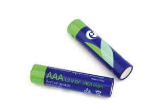Ni-MH rechargeable AAA batteries, 1000mAh, 2pcs blister pack