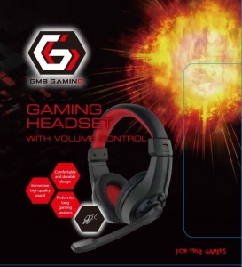 Casti Gembird Gaming microphone & stereo black/red