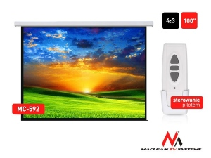 Maclean MC-592 Premium/Deluxe Electric Projection Screen-100'' 4:3