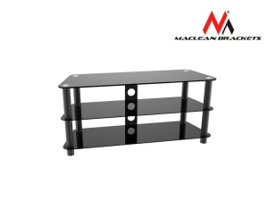 Maclean MC-625 TV table with glass Black Tempered Glass TV Table Shelf Stand
