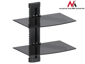 Maclean MC-662 2-Tier Wall Floating Glass Shelf Support DVD Console PS3 Xbox