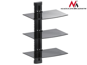 Maclean MC-664 3-Tier Wall Floating Glass Shelf Support DVD Console PS3 Xbox