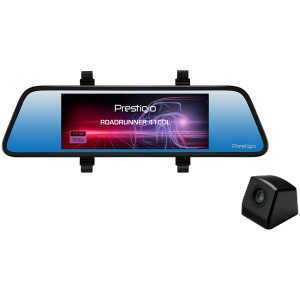 Prestigio RoadRunner 410DL, 6.86-- (1280x480) touch display, Dual camera: front - FHD 1920x1080@30fps, HD 1280x720@30fps, rear - VGA 640x480@30fps, CPU SSC8336, 2 MP CMOS GC2063 image sensor, 12 MP camera, 100° Viewing Angle, Mini USB, Motion Detection, G-sensor, Cyclic Recording, OVP, NTC, color/black, Plastic case