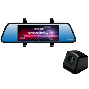 Prestigio RoadRunner 435DL, 6.86-- (1280x480) touch display, Dual camera: front - FHD 1920x1080@30fps, HD 1280x720@30fps, rear - VGA 640x480@30fps, SSC8336, 2 MP CMOS GC2063 image sensor, 12 MP camera, 125° Viewing Angle (front camera), Mini USB, Motion Detection, G-sensor, Cyclic Recording, color/black, Plastic case