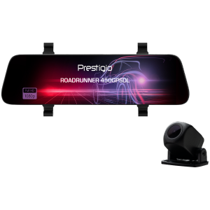 Prestigio RoadRunner 450GPSDL, 9.66-- IPS (1280x320) 2.5D curved touch display, Dual camera: front - FHD 1920x1080@30fps, HD 1280x720@30fps, rear - VGA 1920x1080@30fps, MSC8339D, 2 MP CMOS SC2363 front image sensor, 12 MP camera, 120° Viewing Angle, Mini USB, 800mAh battery, Voice Control, GPS tracker, Motion Detection, G-sensor, Cyclic Recording, color/Black, Plastic case