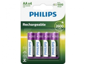 PHILIPS R6B4B260/10 Rechargeable Batteries PHILIPS AA LR6 4psc Blister